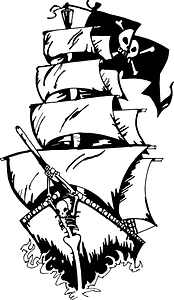 Pirate ship - black and white clipart