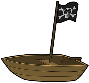 Rowboat with pirate flag clipart