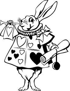 Rabbit from alice in wonderland - line art clipart