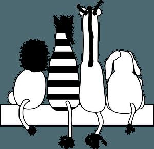 Black and White Animals - Lion, Zebra, Giraffe, Elephant clipart