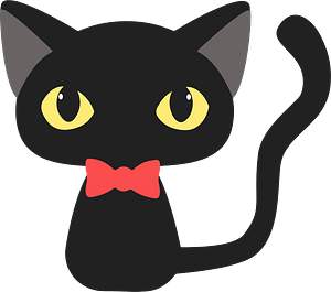 Black Cat with Bowtie clipart