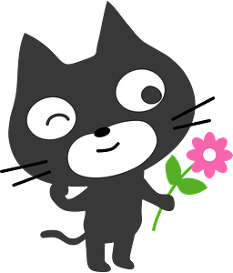 Black Cat with Flower clipart