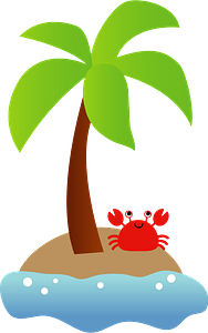 Crab resting under an Island palm tree clipart