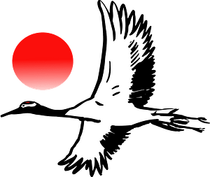 Crane bird sunrise clipart