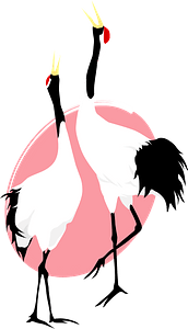 Red-crowned cranes clipart