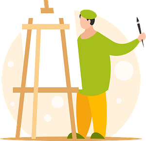 Artist painting at an art easel clipart