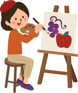 Woman painting at an easel clipart