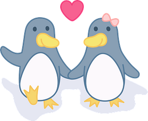 Penguins in love clipart