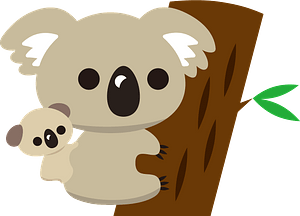Koala mother and baby clipart