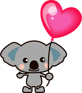 Koala holding a balloon clipart