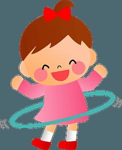 Children twirling hula hoop clipart