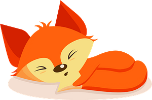 Sleeping fox clipart