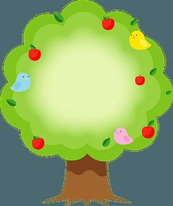 Birds in an apple tree clipart