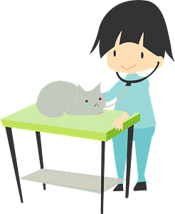 Veterinarian seeing a cat clipart