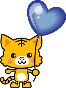 Tiger is holding a blue heart balloon 클립 아트