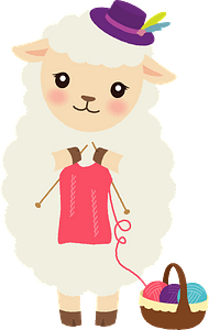 Sheep is knitting clipart