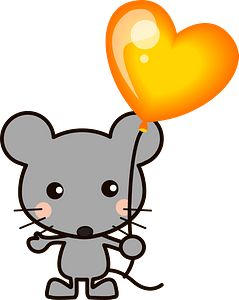 Mouse is Holding a Heart Balloon 클립 아트