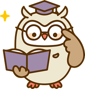 Owl is reading book clipart
