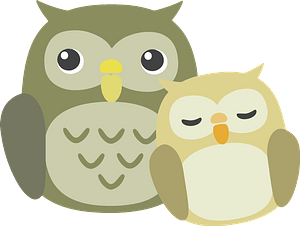 Owls - mother and baby clipart