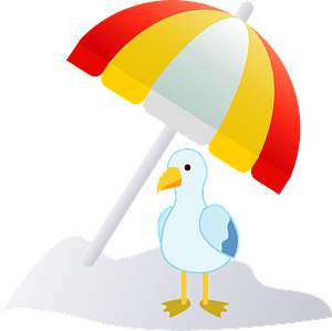 Beach umbrella and seagull clipart