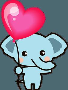 Elephant with Heart-shaped Balloon clipart