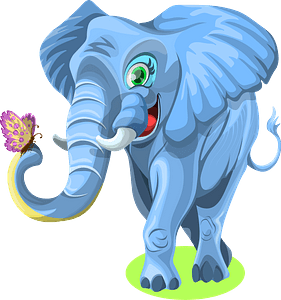 Elephant with butterfly clipart