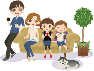 Family sofa dog clipart