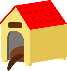 Yellow dog house clipart