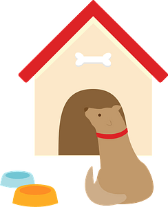 Dog and doghouse clipart