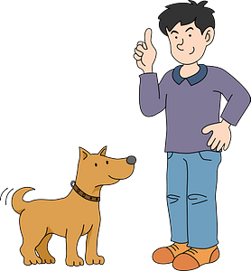 Dog owner and dog clipart