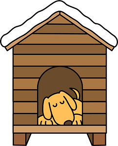 Dog sleeping in the dog house clipart