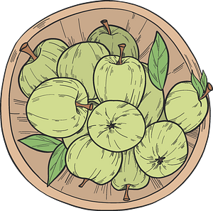 Green apples on a plate clipart