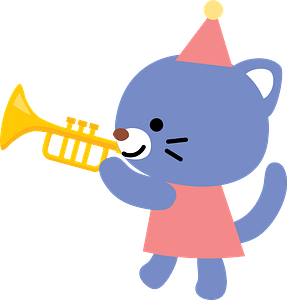Cat is playing trumpet 클립 아트
