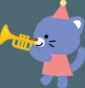 Cat playing trumpet 剪贴画