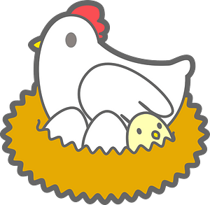 Chicken and chick eggs clipart