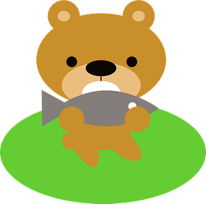 Bear eating fish animal clipart