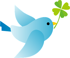 파랑 새가 클로버를 들고있다 클립 아트