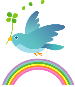 Blue bird holding clover and flying over a rainbow 클립 아트