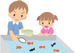 Brother and sister scooping goldfish clipart