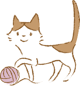 Cat is playing with yarn ball clipart