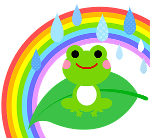 Frog on a leaf in the rain and rainbow clipart