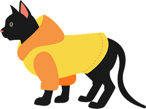 Cat wearing a sweater clipart