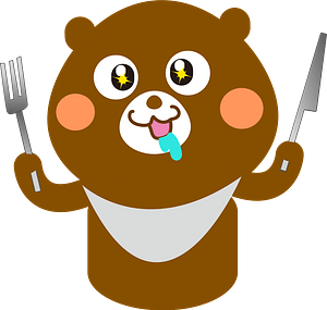 Bear with Bib and Silverware clipart