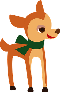 Deer with a Green Scarf clipart