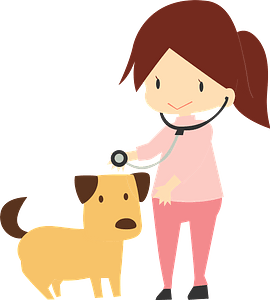 Veterinary physician seeing a dog clipart