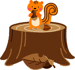 Squirrel with Acorn on top of a Tree Stump clipart