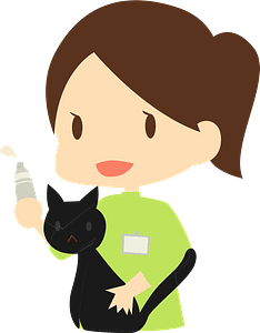 Veterinarian checking a cat clipart