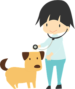 Veterinarian checking a dog clipart