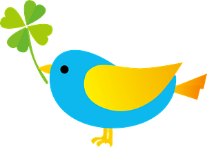 Blue bird holding clover clipart