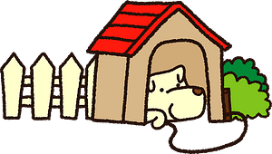 Dog resting in the doghouse clipart